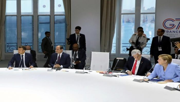 An empty chair for U.S. President Donald Trump is seen during a working session focused on climate change during the G7 summit in Biarritz, France, August 26.  Photo: Collected