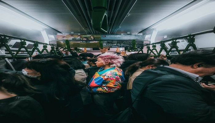 Gaile Juknyte's entry taken on a crowded commuter train in Shinjuku, Japan, was entered in the Street Photography section.