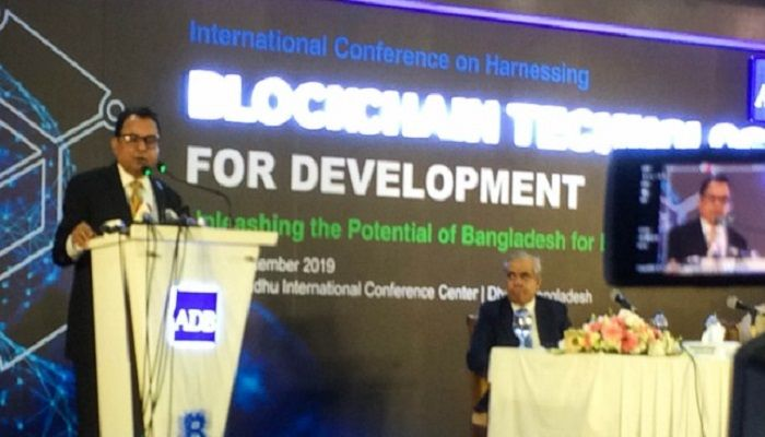 Finance Minister AHM Mustafa Kamal speaks as the chief guest at a conference of Asian Development Bank (ADB) at Bangabandhu International Conference Center in Dhaka on September 29, 2019. Photo: Collected