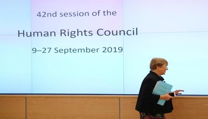 UN High Commissioner for Human Rights Michelle Bachelet attends a session of the Human Rights Council at the United Nations in Geneva, Switzerland, September 9, 2019. REUTERS