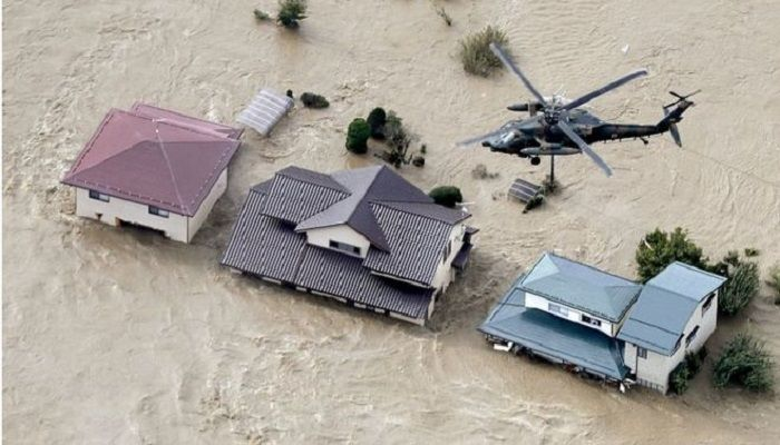 Helicopters rescued people trapped in their homes when the Chikuma river burst its banks