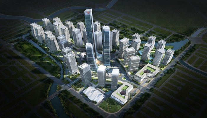 An imaginary projection of Purbachal comprehensive commercial township area.