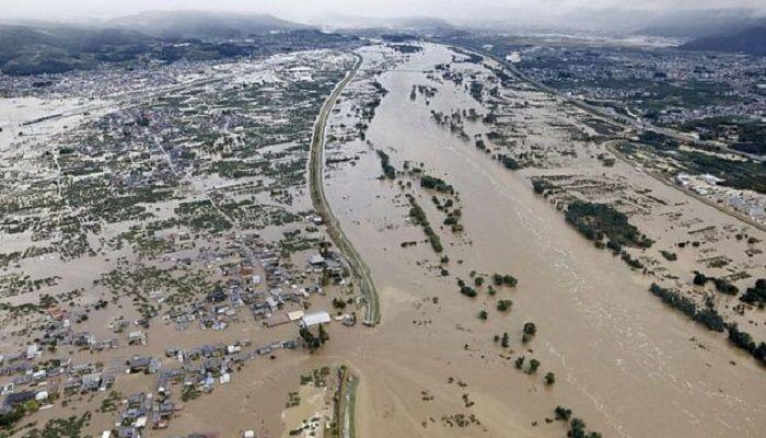 Torrential rain has caused rivers to flood huge areas