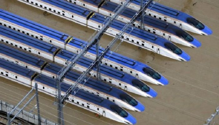 Bullet trains were half submerged in Nagano, central Japan