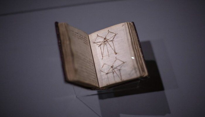 """""""The Euclidean demonstration of the Pythagorean theorem"""" by Leonardo da Vinci displayed at the Louvre museum Sunday, Oct. 20, 2019 in Paris. A unique group of artworks is displayed at the Louvre museum in addition to its collection of paintings and drawings by the Italian master. The exhibition opens to the public on Oct.24, 2019. (AP Photo)"""