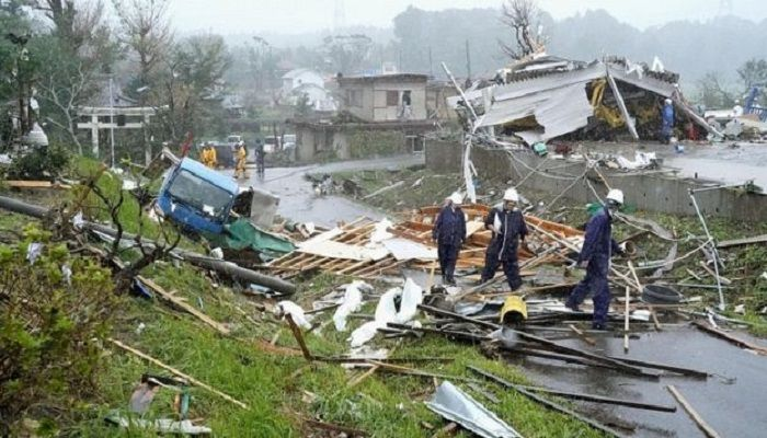 Tornado-like winds whipped up by the typhoon struck east of Tokyo