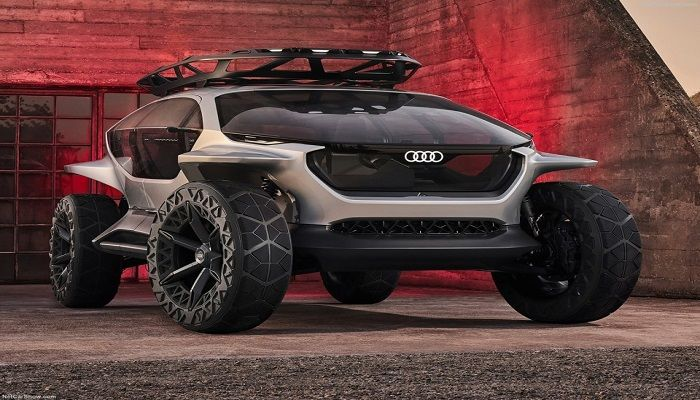 Audi AI-TRAIL Quattro Concept This moon buggy/distant planet exploration rover looking thing is Audi's autonomous off-roading concept, which combines artificial intelligence powered autonomous capabilities with the Quattro cult by-laws to create a vehicle that can (theoretically) navigate the harshest terrain with ease, all by itself. It even comes with four drones that latch on to the roof and scramble on command, providing lighting illumination to a 3D camera stream to the cockpit. Just think of the hillbillies who'll take this thing mudding in the American South.