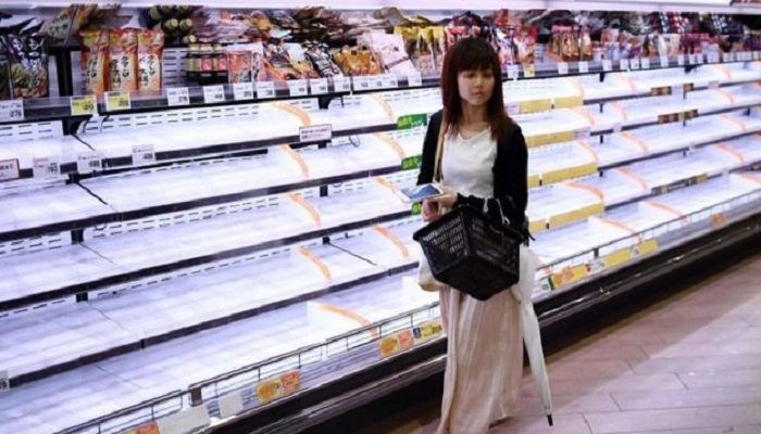 Many supermarket were left empty as people stocked up