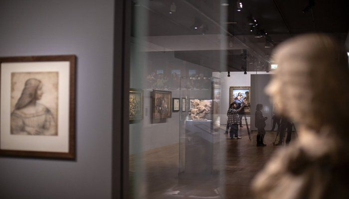 Artworks are displayed at the Leonardo da Vinci exhibition at the Louvre museum Sunday, Oct. 20, 2019 in Paris. A unique group of artworks is displayed at the Louvre museum in addition to its collection of paintings and drawings by the Italian master. The exhibition opens to the public on Oct.24, 2019. (AP Photo)