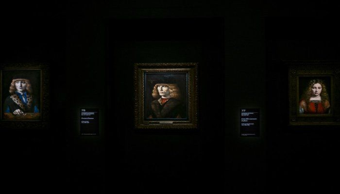 Artworks displayed at the Leonardo da Vinci exhibition at the Louvre museum Sunday, Oct. 20, 2019 in Paris. A unique group of artworks is displayed at the Louvre museum in addition to its collection of paintings and drawings by the Italian master. The exhibition opens to the public on Oct.24, 2019. (AP Photo)