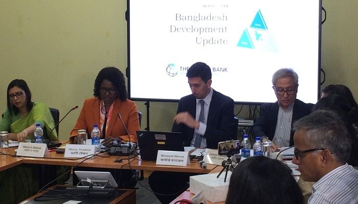 Bangladesh sustained strong growth in fiscal year 2018-2019, according to a report titled 'Bangladesh Development Update October 2019: Tertiary Education and Job Skills' launched by WB at its Dhaka office today, Thursday, October 10, 2019. Photo: Collected