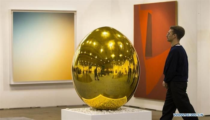 "The artwork ""Nest Egg"" is seen during the 2019 Art Toronto in Toronto, Canada, on Oct. 26, 2019. Presenting works by over 100 galleries from across Canada and around the world, this annual three-day fair was held here from Friday to Sunday to draw tens of thousands of art collectors, professionals, and enthusiasts.  Photo: Xinhua"