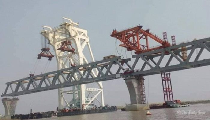 With the installation of 15th span this morning, a total 2.25 kilometres of Padma Bridge is now visible- Photo: Collected
