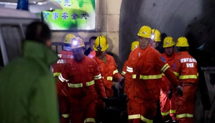 Firefighters conduct rescue work at the site following a gas explosion at a coal mine in Pingyao county, Shanxi province, China. Photo: Reuters