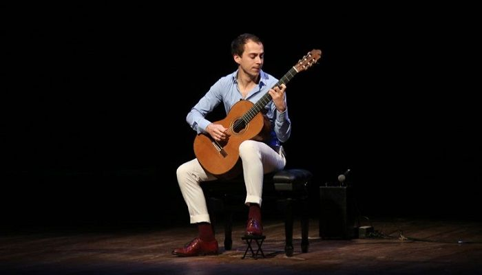 French guitarist Thibault Cauvin performs at National Theatre Hall of Bangladesh Shilpakala Academy on Tuesday. — Sony Ramany