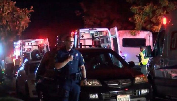 """Scene of what police called """"mass casualty"""" shooting in Fresno, California on night of November 17, 2019. Photo: Collected"""