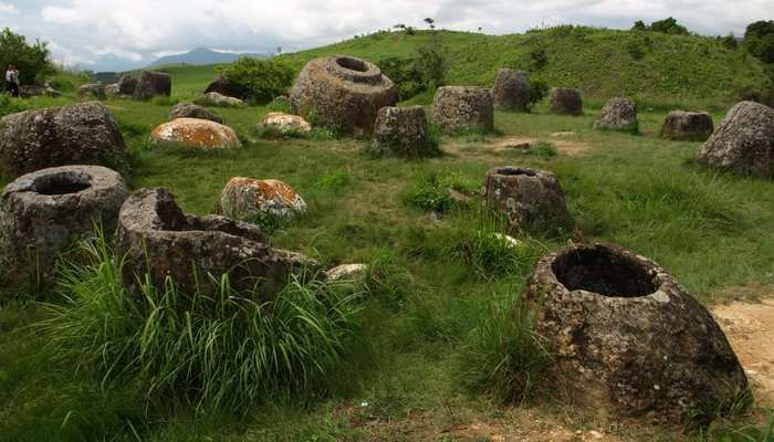 Megalithic Jar Sites in Xiengkhuang/Plain of Jars, Lao People's Democratic Republic: Located on a plateau in central Laos, the Plain of Jars is named for the more than 2,100 Iron Age stone jars used for funeral practices. This 15-section site dates from 500 BC to 500 AD.