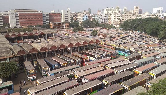 Buses did not leave Dhaka's Mohakhali bus terminal on Thursday, November 21, 2019 fearing harassment by those who have been observing transport strike at different parts of the country demanding amendment to the new transport law. Photo: Collected