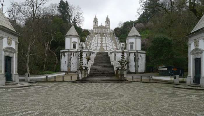 Sanctuary of Bom Jesus do Monte in Braga, Portugal: Designed to evoke Christian Jerusalem, the sanctuary was developed over a period of more than 600 years, primarily in a Baroque style. The Via Crucis ends at the church, which was built between 1784 and 1811.
