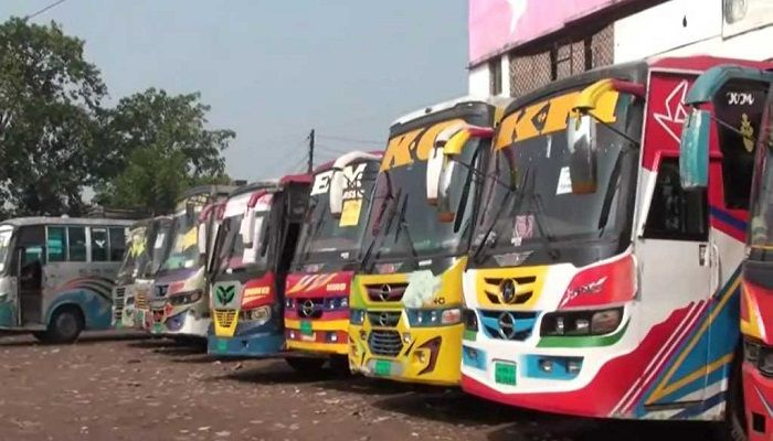 Buses at a bus stand in Satkhira on Tuesday, November 19, 2019. Photo: Collected