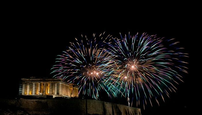 Fireworks explode over the ancient Parthenon temple on the Acropolis hill as the new year begins in Athens, Greece. Photo: AP