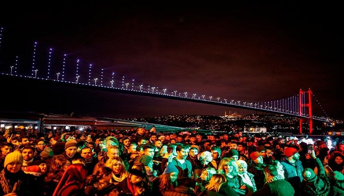 People wait for the new year in Ortakoy Square in Istanbul. Photo: AP