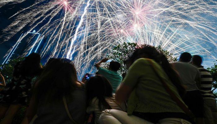 Fireworks erupt during celebrations in Kuala Lumpur, Malaysia. Photo: AFP