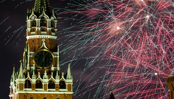 Fireworks explode near the Spasskaya Tower during New Year's celebrations in Moscow's Red Square. Photo: AP