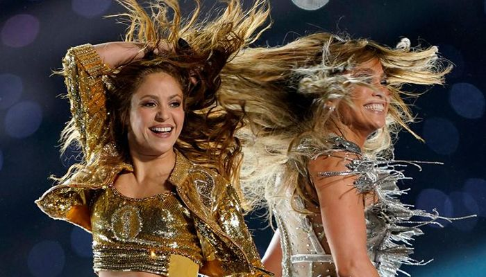 Jennifer Lopez and Shakira perform during the halftime show at Super Bowl LIV in Miami. Photo: Collected from Reuters