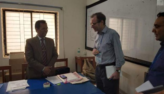 British High Commissioner inspects balloting at Residential Model College Center in Mohammadpur Photo: BBC