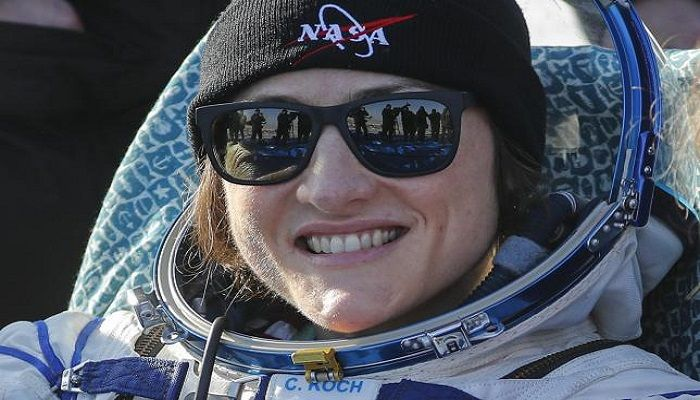 NASA astronaut Christina Koch smiles shortly after landing in a remote area outside the town of Dzhezkazgan (Zhezkazgan), Kazakhstan, on 6 February 2020. Photo: Collected from AFP