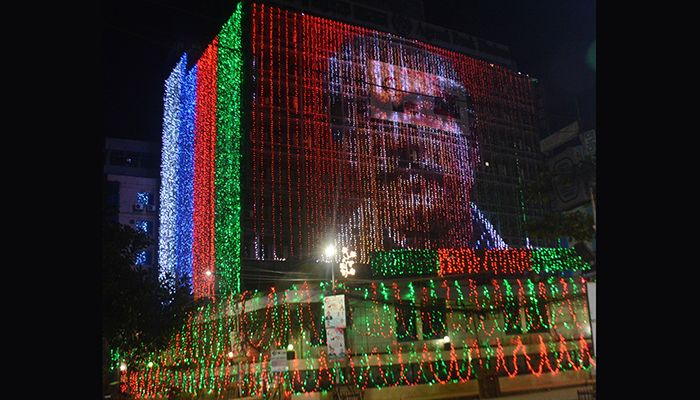 On the occasion of the Mujib Year, various public-private establishments, offices, courts, buildings, various roads and highways have been illuminated with colorful lightings. Photo taken on Sunday night.