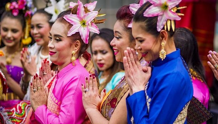 Thai wai:  A slight bow with palms pressed together in a prayer-like position: The Thai wai greeting is widespread in various southeast Asian countries — also known as the Indian namaste or the Burmese mingalar par.