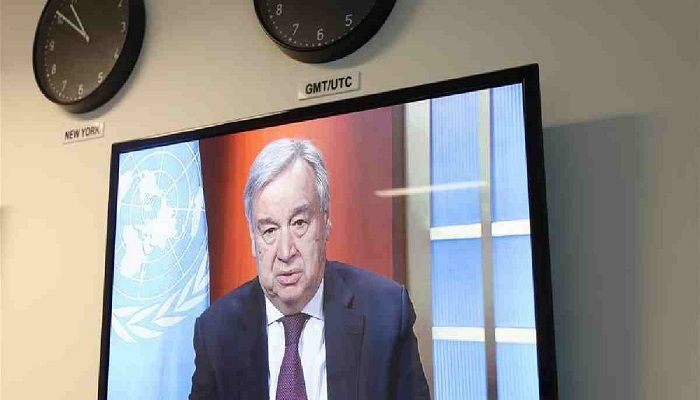 Photo taken on March, 25, 2020 at the United Nations headquarters in New York shows that UN Secretary-General Antonio Guterres speaking at the launch of the COVID-19 global humanitarian response plan via video teleconference. Photo: Collected from Xinhua