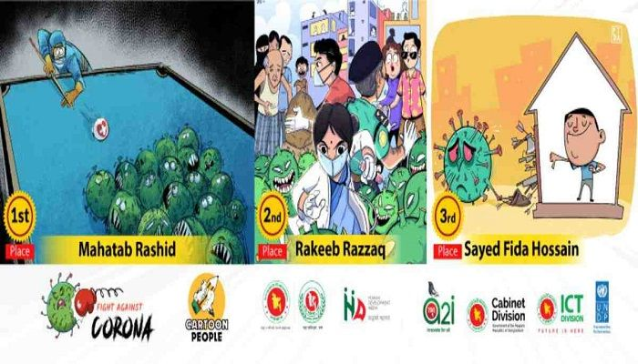 3 Cartoonists Awarded in 'Fight Against Corona' Contest
