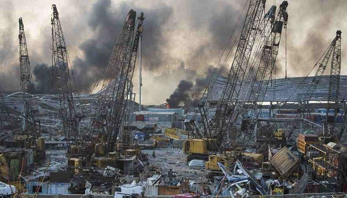 Smoke rises in the aftermath of the massive explosion. Photo: Collected from AP
