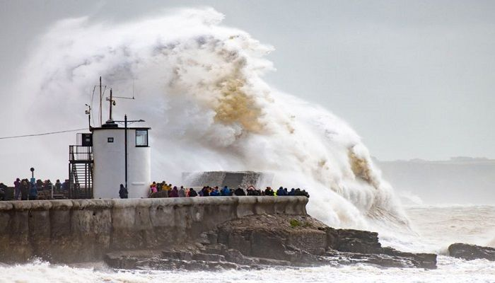 Waves crash against the harbour wall in Porthcawl, Wales, as Storm Francis lashed the UK with heavy rain and gusts of wind of nearly 80mph (129km/h). The storm caused flooding and power outages, and led to widespread travel disruption.