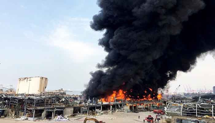 A new fire raged in the port of Beirut on Thursday.Credit. Photo: Collected from Reuters