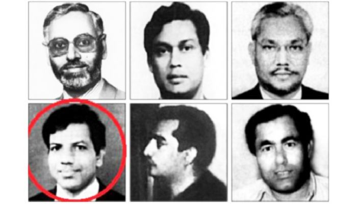 Rashed Chowdhury (red circle) is one of the condemned killers of Bangabandhu shown in the photo