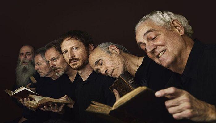 Recreating Gustave Doré's The Neophyte. Peter Van Norden, Tony Amendola, Leo Marks, Bo Foxworth, James Sutorius, Frank Weitzel. Photo: Rory Lewis