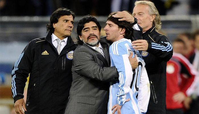 Coach Maradona embraced Lionel Messi after South Africa's 2010 World Cup quarter-final victory over Germany.