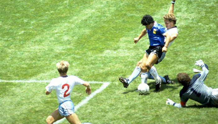 The moment of Maradona's famous goal by beating six against England in the quarter finals of the World Cup. Argentina won the match 2-1. He scored the critically acclaimed 'Hand of God' goal in that match. Photo: Reuters