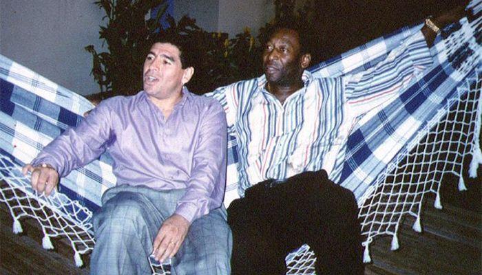 Pele and Maradona at a ceremony in Rio de Janeiro, Brazil on May 14, 1995.
