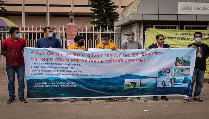 Human Chain of Mountain Lovers to Save Nature and People