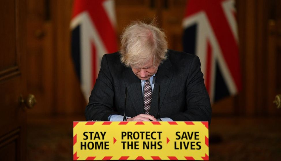 "Prime Minister Boris Johnson, speaking at a Downing Street news conference, said he took ""full responsibility"" for the government's actions, after announcing that more than 100,000 people had died with Covid-19 in the UK. Photo: Collected from Reuters"