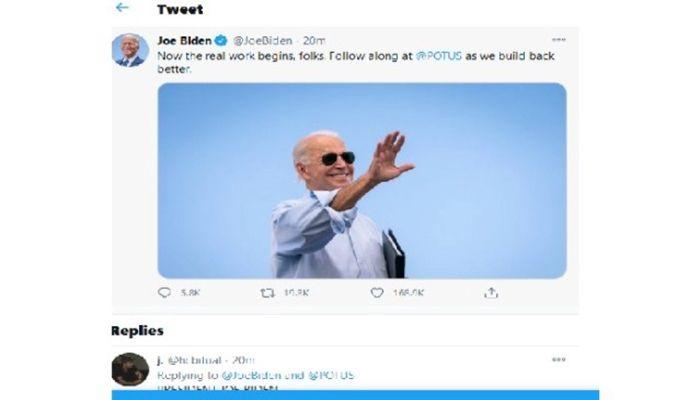 President Joe Biden Sends First Tweet As POTUS