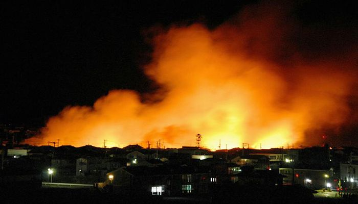 Fires burn in the port area of Iwaki City, Fukushima Prefecture following an earthquake in northeastern Japan,  March 11. Photo: Collected from Reuters