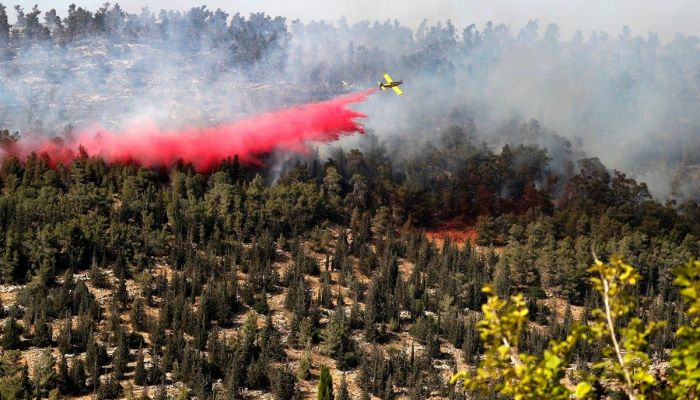 There was no immediate word on the cause of the blaze, which spread through woods close to populated areas and sent dark smoke into the sky over the hills outside Jerusalem.    Photo: Collected