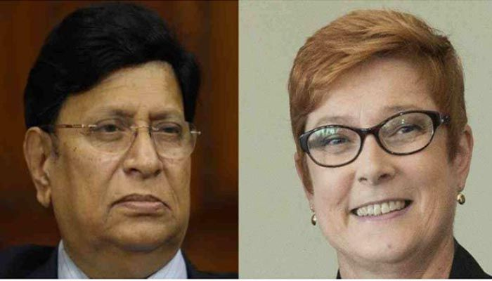 Foreign Minister Dr AK Abdul Momen and his Australian counterpart Marise Payne. Photo: Collected