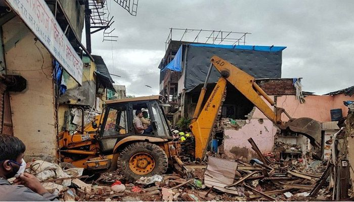Collapses of poorly constructed buildings are common during the monsoon, which officially hit India's financial capital on Wednesday bringing widespread flooding and traffic chaos.    Photo: Collected